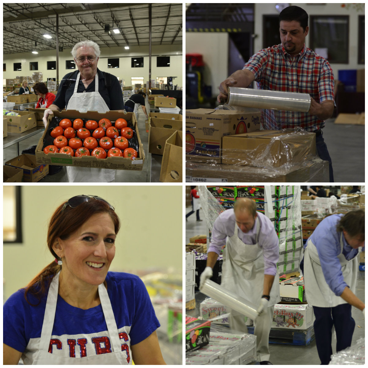 NMGC's IT department packages food at the Roadrunner Foodbank.